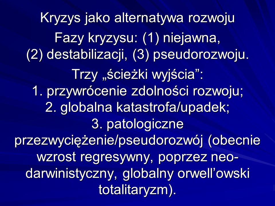 Kryzys jako alternatywa rozwoju Fazy kryzysu: (1) niejawna, (2) destabilizacji, (3) pseudorozwoju.