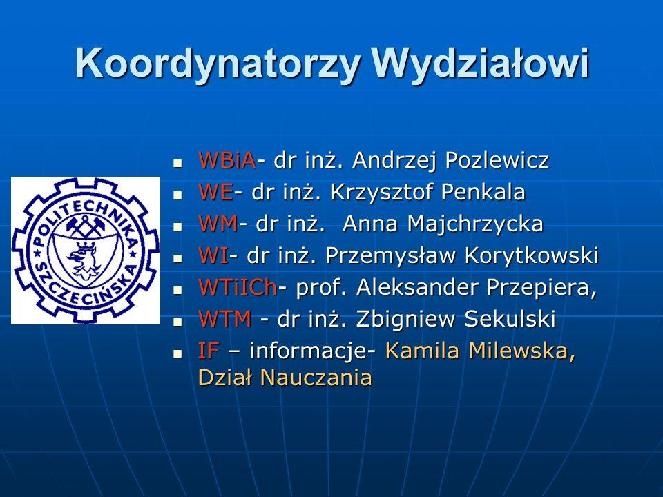 Koordynatorzy Wydziałowi WBiA- dr inż. Andrzej Pozlewicz WBiA- dr inż. Andrzej Pozlewicz WE- dr inż. Krzysztof Penkala WE- dr inż. Krzysztof Penkala W
