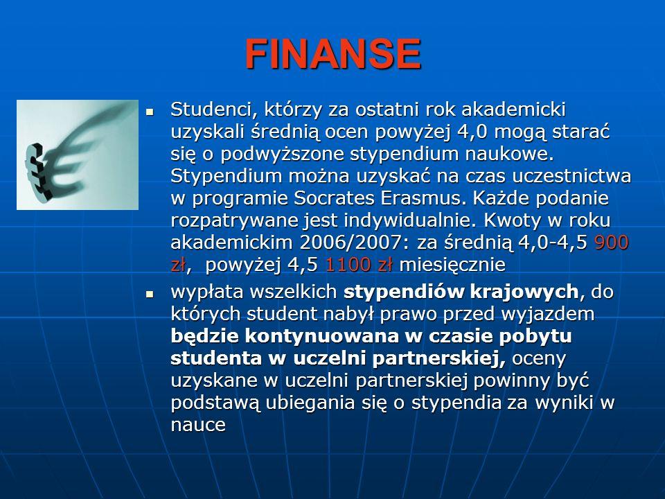 FINANSE Studenci, którzy za ostatni rok akademicki uzyskali średnią ocen powyżej 4,0 mogą starać się o podwyższone stypendium naukowe. Stypendium możn