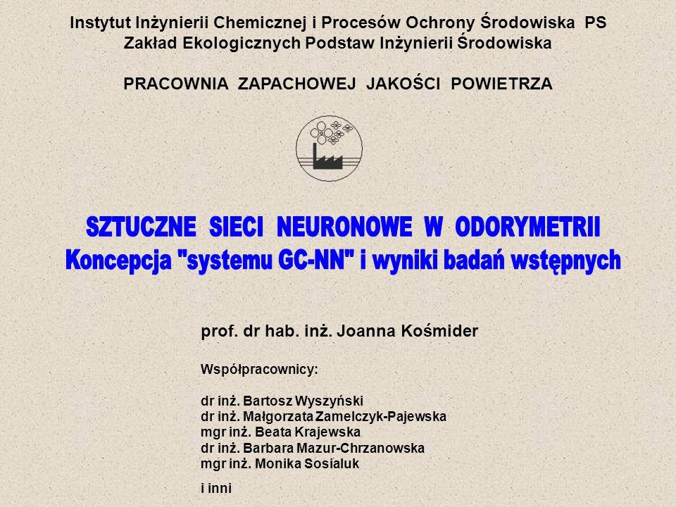 Instytut Inżynierii Chemicznej i Procesów Ochrony Środowiska PS Zakład Ekologicznych Podstaw Inżynierii Środowiska PRACOWNIA ZAPACHOWEJ JAKOŚCI POWIETRZA Granty KBN: 2002-2004: INTENSYWNOŚĆ ZAPACHU.