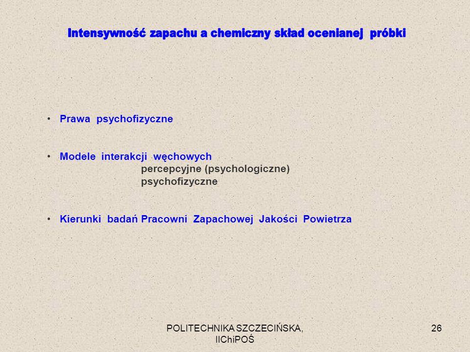 POLITECHNIKA SZCZECIŃSKA, IIChiPOŚ 26 Prawa psychofizyczne Modele interakcji węchowych percepcyjne (psychologiczne) psychofizyczne Kierunki badań Prac