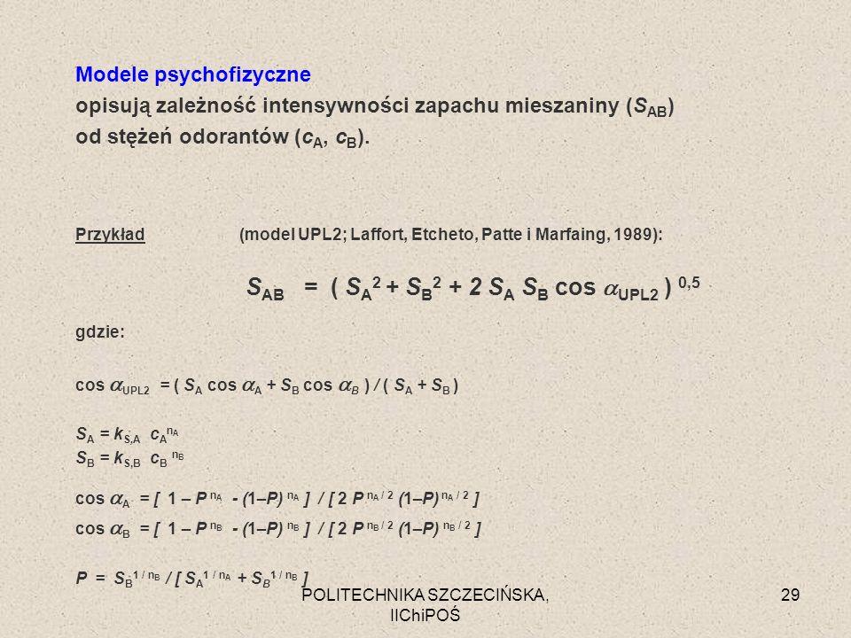 POLITECHNIKA SZCZECIŃSKA, IIChiPOŚ 29 Modele psychofizyczne opisują zależność intensywności zapachu mieszaniny (S AB ) od stężeń odorantów (c A, c B )