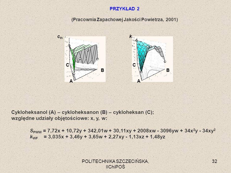 POLITECHNIKA SZCZECIŃSKA, IIChiPOŚ 32 Cykloheksanol (A) – cykloheksanon (B) – cykloheksan (C); względne udziały objętościowe: x, y, w: S PWW = 7,72x +