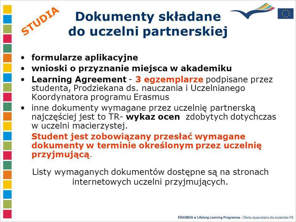 Dokumenty składane do uczelni partnerskiej formularze aplikacyjne wnioski o przyznanie miejsca w akademiku Learning Agreement - 3 egzemplarze podpisane przez studenta, Prodziekana ds.