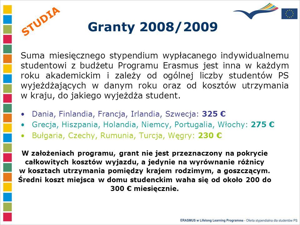 Granty 2008/2009 Dania, Finlandia, Francja, Irlandia, Szwecja: 325 Grecja, Hiszpania, Holandia, Niemcy, Portugalia, Włochy: 275 Bułgaria, Czechy, Rumunia, Turcja, Węgry: 230 Suma miesięcznego stypendium wypłacanego indywidualnemu studentowi z budżetu Programu Erasmus jest inna w każdym roku akademickim i zależy od ogólnej liczby studentów PS wyjeżdżających w danym roku oraz od kosztów utrzymania w kraju, do jakiego wyjeżdża student.