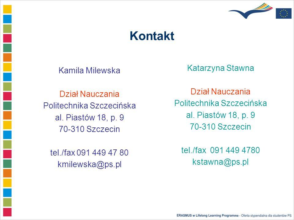 Kontakt Katarzyna Stawna Dział Nauczania Politechnika Szczecińska al.