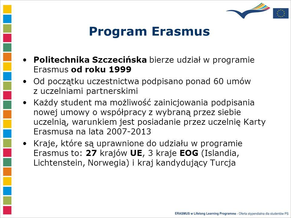 Program Erasmus Politechnika Szczecińska bierze udział w programie Erasmus od roku 1999 Od początku uczestnictwa podpisano ponad 60 umów z uczelniami partnerskimi Każdy student ma możliwość zainicjowania podpisania nowej umowy o współpracy z wybraną przez siebie uczelnią, warunkiem jest posiadanie przez uczelnię Karty Erasmusa na lata 2007-2013 Kraje, które są uprawnione do udziału w programie Erasmus to: 27 krajów UE, 3 kraje EOG (Islandia, Lichtenstein, Norwegia) i kraj kandydujący Turcja
