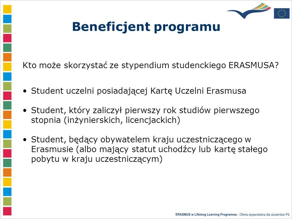 Erasmus 2008/2009 Pobyt na stypendium nie może być krótszy niż 3 miesiące i dłuższy niż 1 rok akademicki Grant przyznaje się wyłącznie w celu zrealizowania określonego programu LA w uczelni partnerskiej Student może skorzystać z prawa do wyjazdu na studia tylko raz Z każdym studentem zakwalifikowanym na wyjazd zostanie sporządzona pisemna umowa, przed wyjazdem zaś otrzyma Kartę Studenta Erasmusa Grant wypłacony zostanie pod warunkiem zaakceptowania przez grantobiorcę wszystkich warunków umowy
