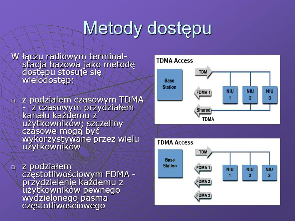 Metody dostępu W łączu radiowym terminal- stacja bazowa jako metodę dostępu stosuje się wielodostęp: z podziałem czasowym TDMA - z czasowym przydziałem kanału każdemu z użytkowników; szczeliny czasowe mogą być wykorzystywane przez wielu użytkowników z podziałem czasowym TDMA - z czasowym przydziałem kanału każdemu z użytkowników; szczeliny czasowe mogą być wykorzystywane przez wielu użytkowników z podziałem częstotliwościowym FDMA - przydzielenie każdemu z użytkowników pewnego wydzielonego pasma częstotliwościowego z podziałem częstotliwościowym FDMA - przydzielenie każdemu z użytkowników pewnego wydzielonego pasma częstotliwościowego