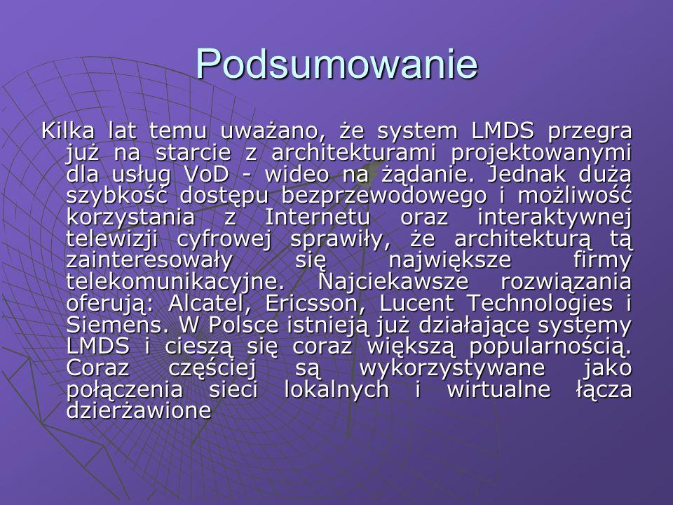 Podsumowanie Kilka lat temu uważano, że system LMDS przegra już na starcie z architekturami projektowanymi dla usług VoD - wideo na żądanie.