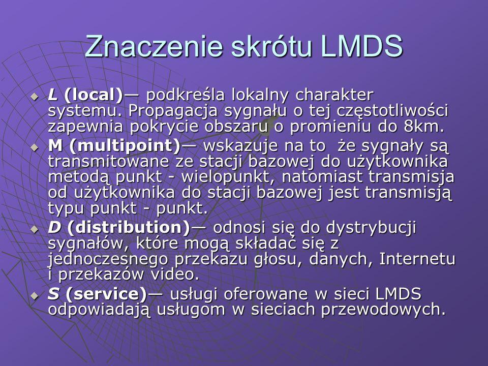 Techniki modulacji w LMDS Aby zagwarantować dużą skuteczność wykorzystania widma, w systemie LMDS stosuje się zaawansowane techniki modulacji.