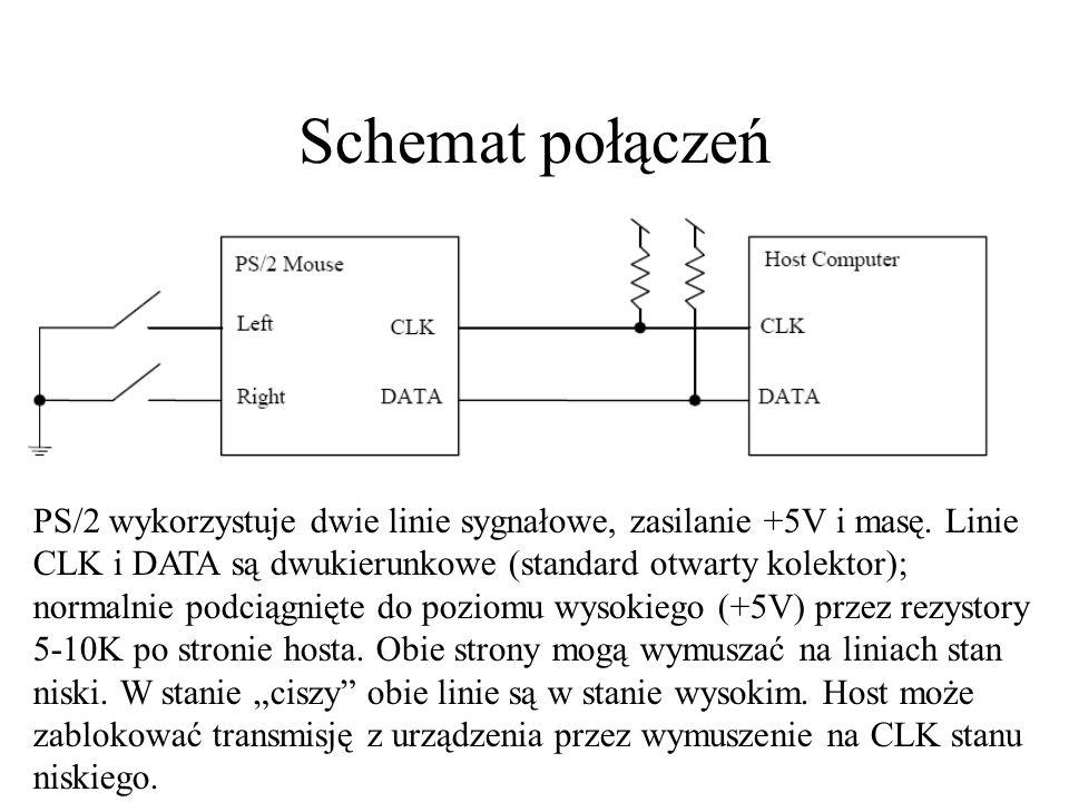 Schemat połączeń PS/2 wykorzystuje dwie linie sygnałowe, zasilanie +5V i masę.