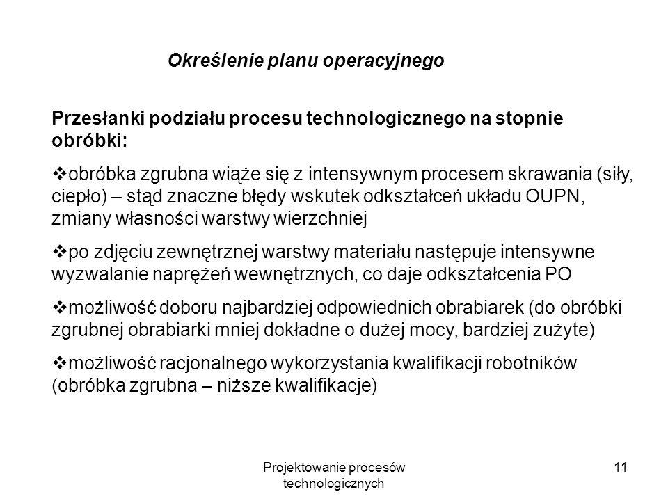 Projektowanie procesów technologicznych 10 Określenie planu operacyjnego Stopnie obróbki: I.obróbka zgrubna – zadanie: usunięcie całego nadmiaru mater