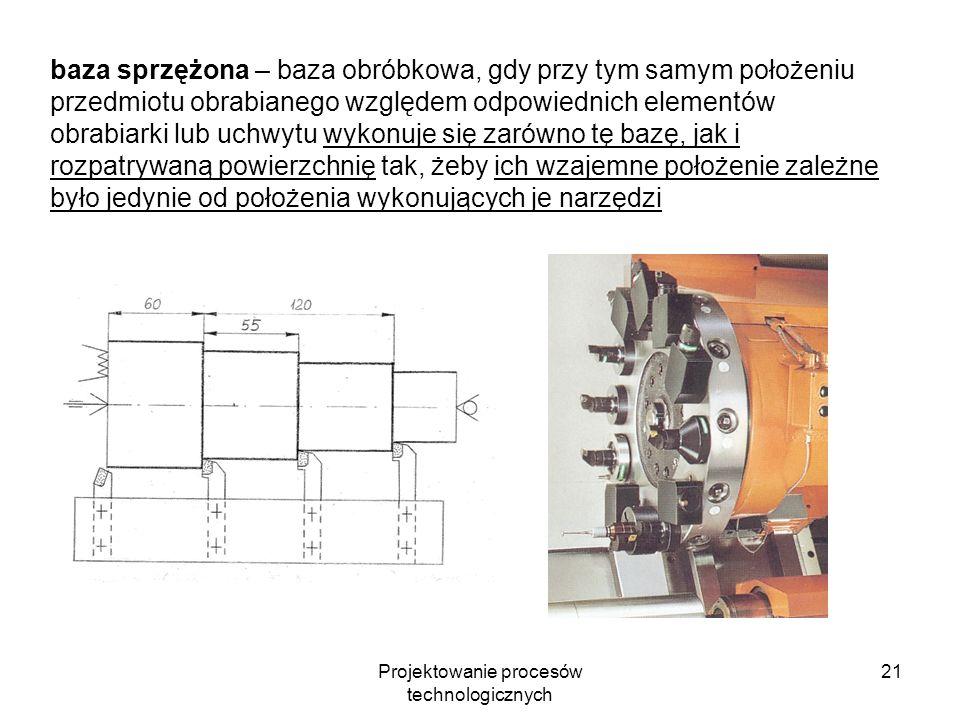 Projektowanie procesów technologicznych 20 baza nastawcza – baza obróbkowa, której położenie nastawia się względem odpowiednich elementów obrabiarki,