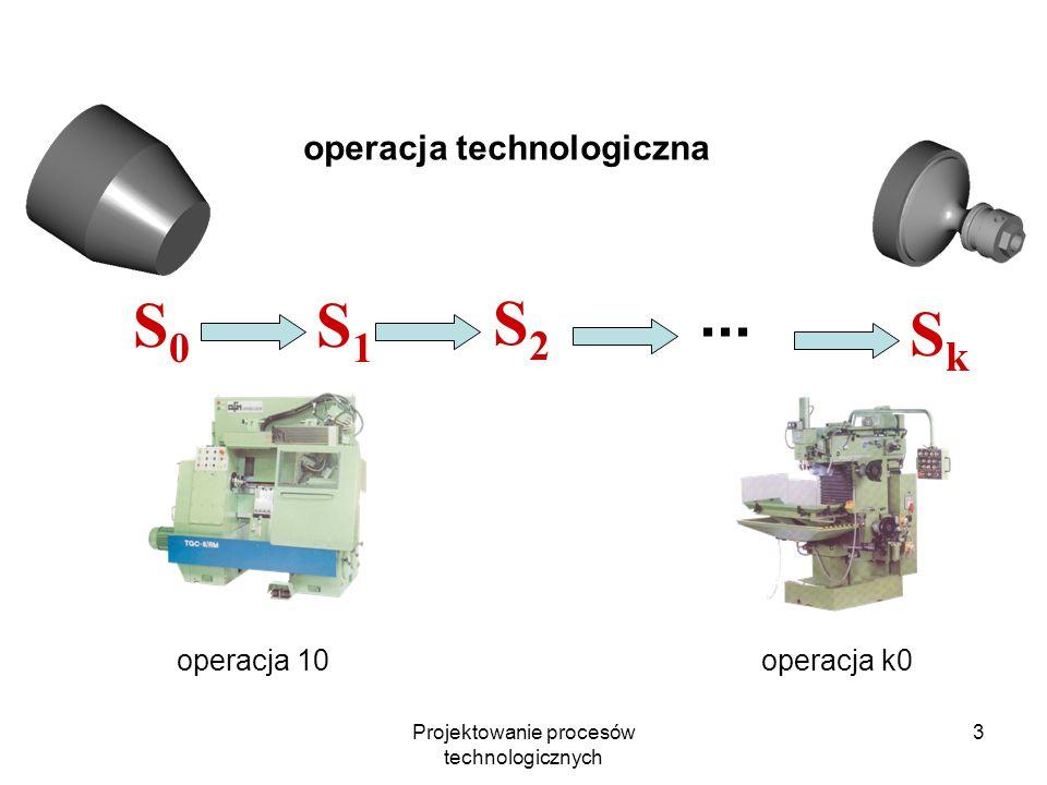 Projektowanie procesów technologicznych 13 stopień obróbki dokładność i chropowatość (orientacyjnie) przygotowanie baz obróbkowych obróbka powierzchni podstawowych obróbka powierzchni drugorzędnych KTOC I do IT12 do Ra=20 obróbka baz do następnych operacji obróbka zgrubna powierzchni podstawowych ** II IT9 – IT11 Ra = 2,5-10 jeśli stały się mniej dokładne np.
