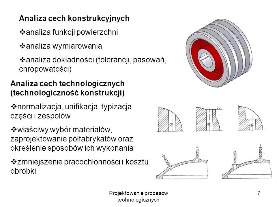Projektowanie procesów technologicznych 7 Analiza cech technologicznych (technologiczność konstrukcji) normalizacja, unifikacja, typizacja części i zespołów właściwy wybór materiałów, zaprojektowanie półfabrykatów oraz określenie sposobów ich wykonania zmniejszenie pracochłonności i kosztu obróbki Analiza cech konstrukcyjnych analiza funkcji powierzchni analiza wymiarowania analiza dokładności (tolerancji, pasowań, chropowatości)
