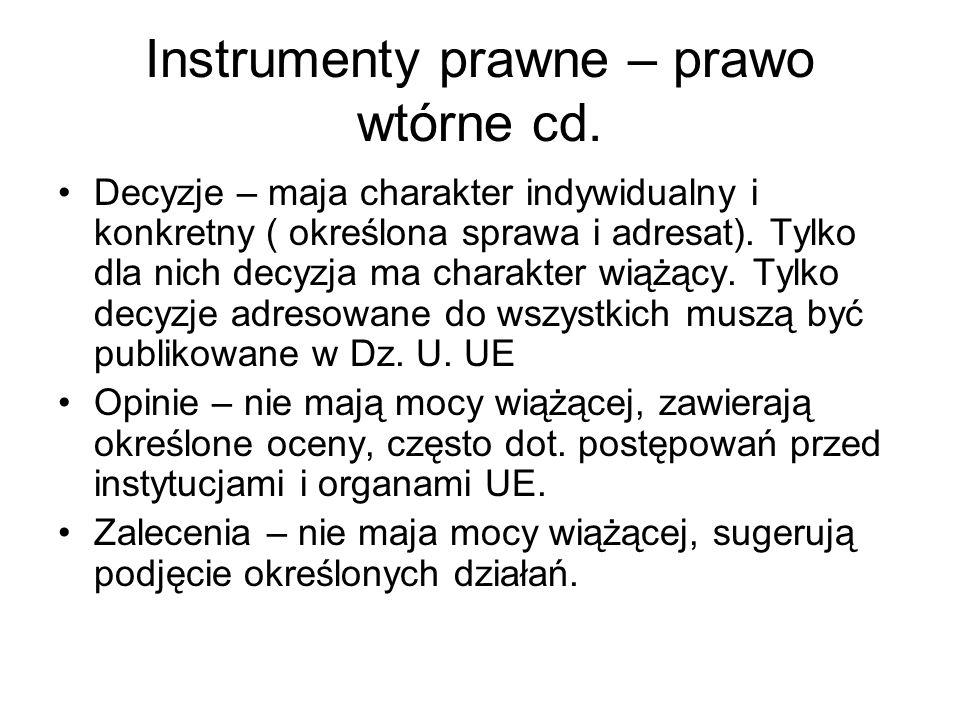 Instrumenty prawne – prawo wtórne cd. Decyzje – maja charakter indywidualny i konkretny ( określona sprawa i adresat). Tylko dla nich decyzja ma chara