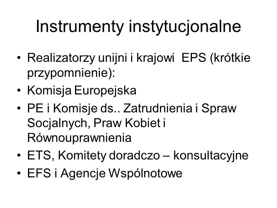 Instrumenty instytucjonalne Realizatorzy unijni i krajowi EPS (krótkie przypomnienie): Komisja Europejska PE i Komisje ds.. Zatrudnienia i Spraw Socja