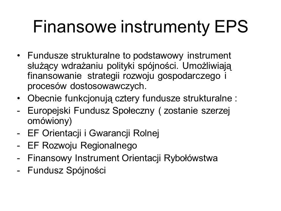 Finansowe instrumenty EPS Fundusze strukturalne to podstawowy instrument służący wdrażaniu polityki spójności. Umożliwiają finansowanie strategii rozw