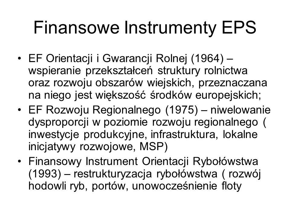 Finansowe Instrumenty EPS EF Orientacji i Gwarancji Rolnej (1964) – wspieranie przekształceń struktury rolnictwa oraz rozwoju obszarów wiejskich, prze