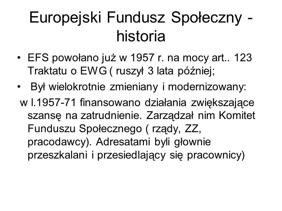 Europejski Fundusz Społeczny - historia EFS powołano już w 1957 r. na mocy art.. 123 Traktatu o EWG ( ruszył 3 lata później; Był wielokrotnie zmienian