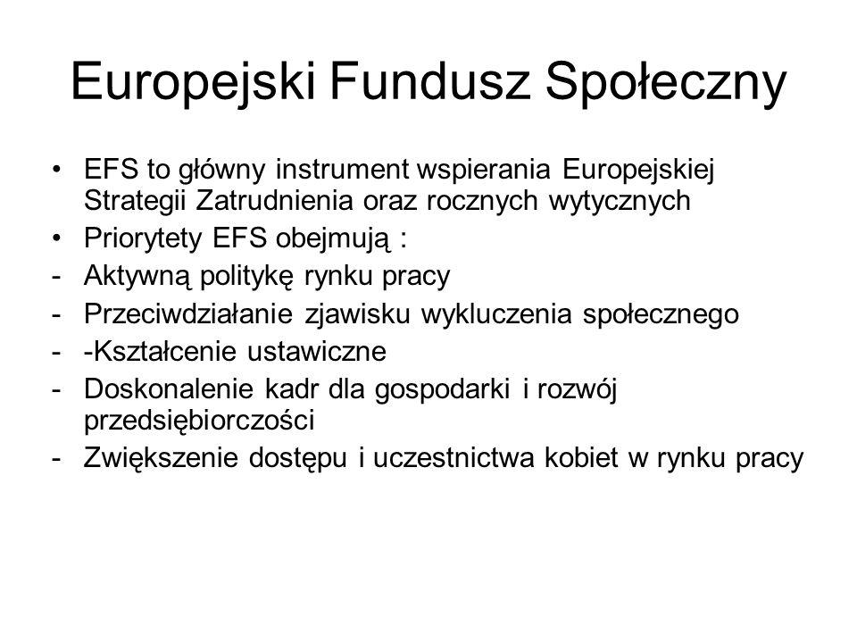Europejski Fundusz Społeczny EFS to główny instrument wspierania Europejskiej Strategii Zatrudnienia oraz rocznych wytycznych Priorytety EFS obejmują