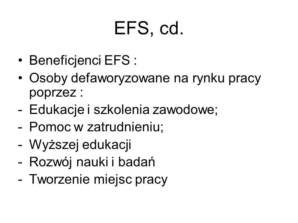 EFS, cd. Beneficjenci EFS : Osoby defaworyzowane na rynku pracy poprzez : -Edukacje i szkolenia zawodowe; -Pomoc w zatrudnieniu; -Wyższej edukacji -Ro