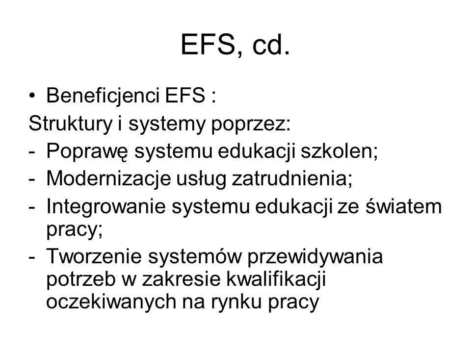 EFS, cd. Beneficjenci EFS : Struktury i systemy poprzez: -Poprawę systemu edukacji szkolen; -Modernizacje usług zatrudnienia; -Integrowanie systemu ed
