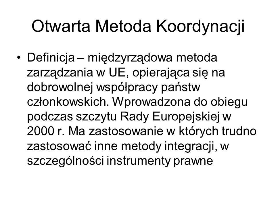 Otwarta Metoda Koordynacji Definicja – międzyrządowa metoda zarządzania w UE, opierająca się na dobrowolnej współpracy państw członkowskich. Wprowadzo