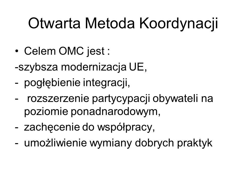 Otwarta Metoda Koordynacji Celem OMC jest : -szybsza modernizacja UE, -pogłębienie integracji, - rozszerzenie partycypacji obywateli na poziomie ponad