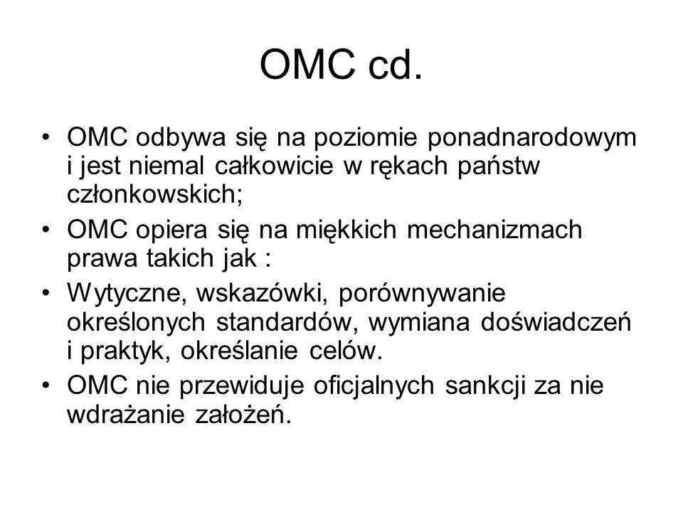 OMC cd. OMC odbywa się na poziomie ponadnarodowym i jest niemal całkowicie w rękach państw członkowskich; OMC opiera się na miękkich mechanizmach praw