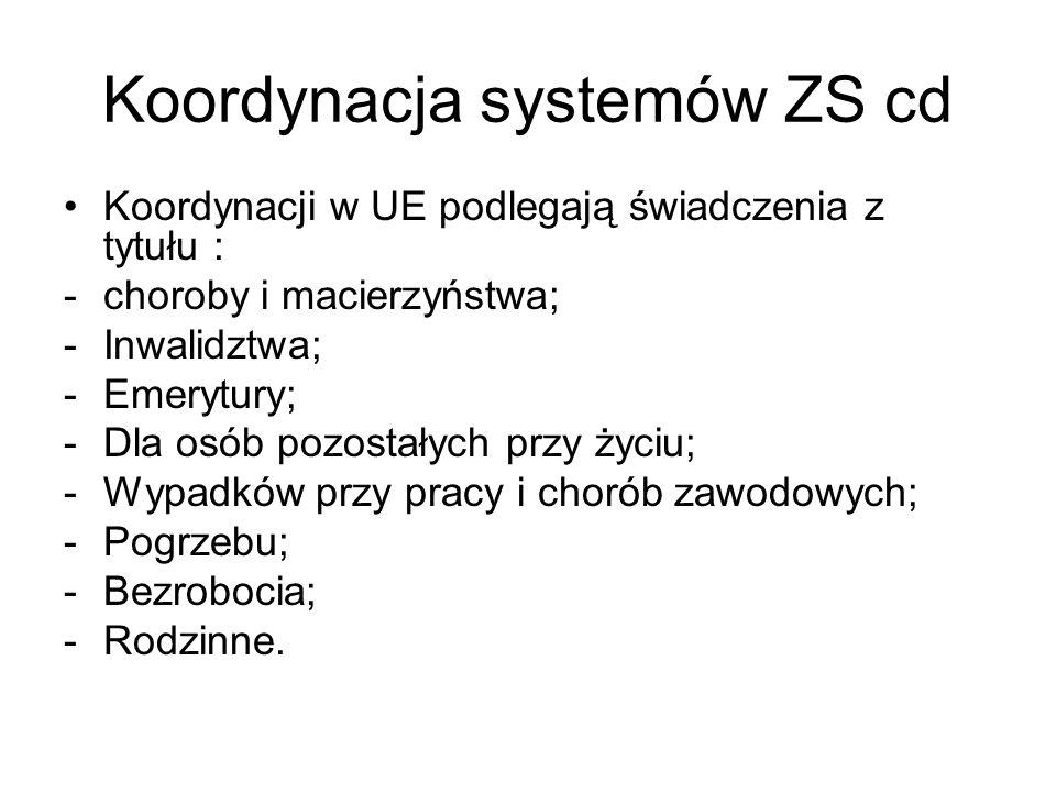 Koordynacja systemów ZS cd Koordynacji w UE podlegają świadczenia z tytułu : -choroby i macierzyństwa; -Inwalidztwa; -Emerytury; -Dla osób pozostałych