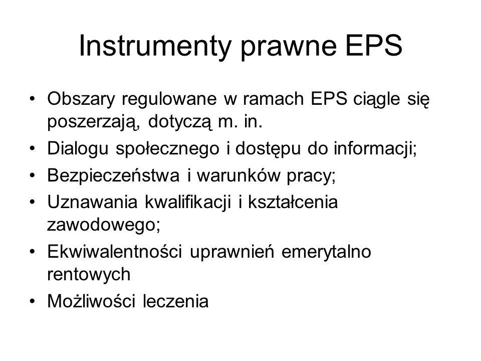 Instrumenty prawne EPS Obszary regulowane w ramach EPS ciągle się poszerzają, dotyczą m. in. Dialogu społecznego i dostępu do informacji; Bezpieczeńst