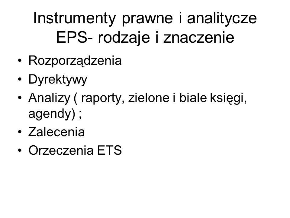 Instrumenty prawne i analitycze EPS- rodzaje i znaczenie Rozporządzenia Dyrektywy Analizy ( raporty, zielone i biale księgi, agendy) ; Zalecenia Orzec