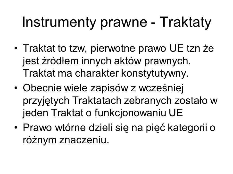 Instrumenty prawne - Traktaty Traktat to tzw, pierwotne prawo UE tzn że jest źródłem innych aktów prawnych. Traktat ma charakter konstytutywny. Obecni