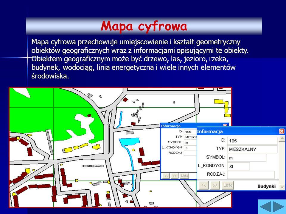 Mapa cyfrowa przechowuje umiejscowienie i kształt geometryczny obiektów geograficznych wraz z informacjami opisującymi te obiekty. Obiektem geograficz