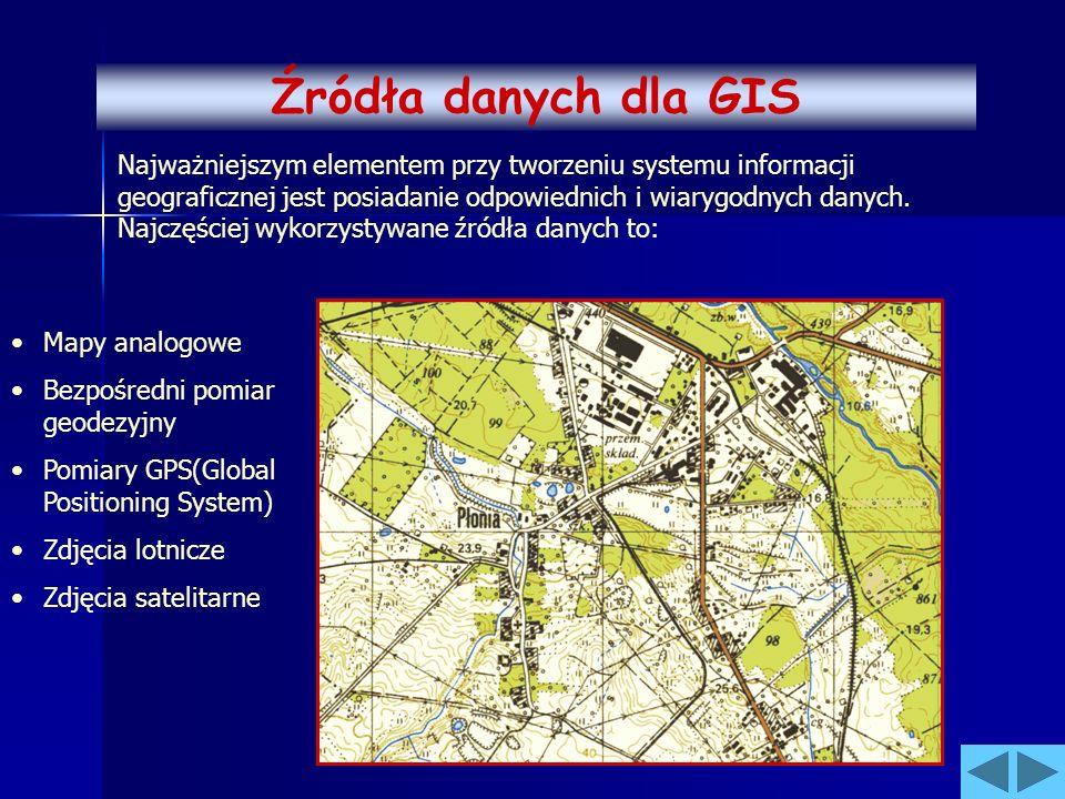 Najważniejszym elementem przy tworzeniu systemu informacji geograficznej jest posiadanie odpowiednich i wiarygodnych danych. Najczęściej wykorzystywan