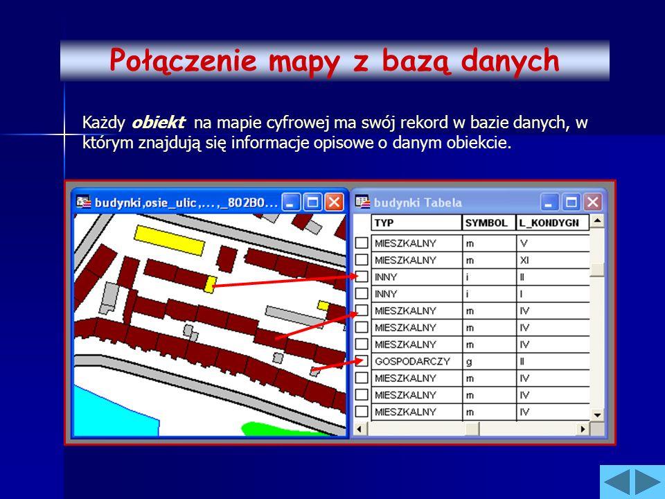 Połączenie mapy z bazą danych Każdy obiekt na mapie cyfrowej ma swój rekord w bazie danych, w którym znajdują się informacje opisowe o danym obiekcie.