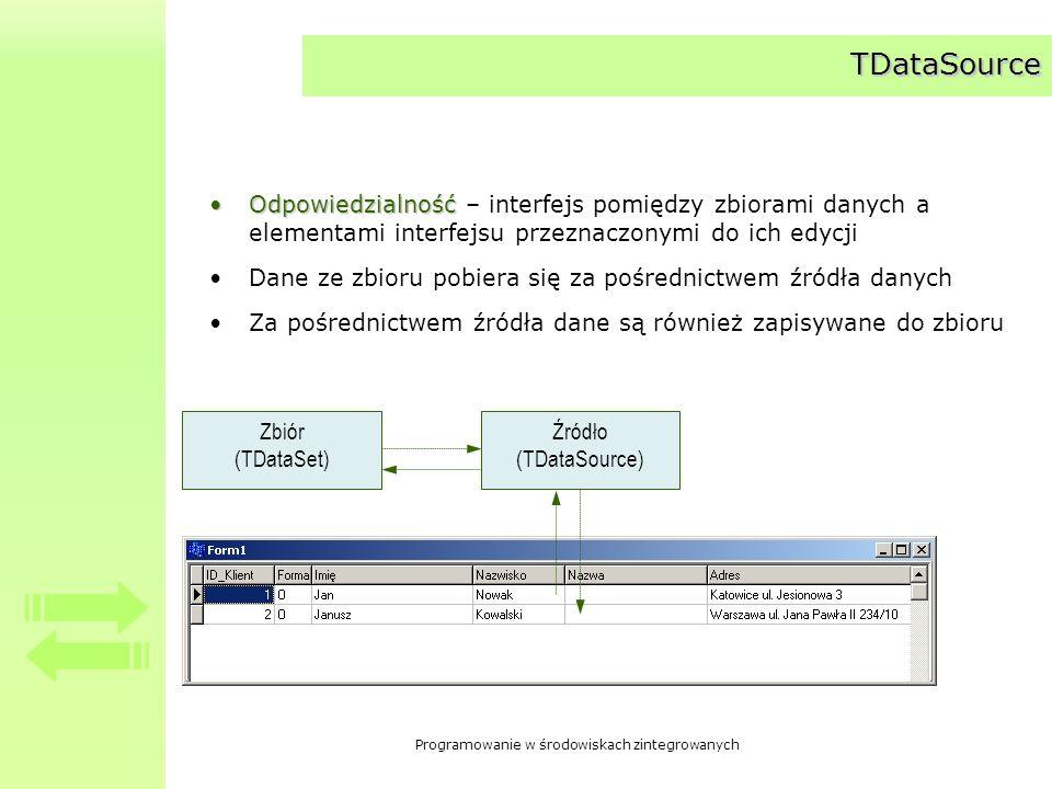 Programowanie w środowiskach zintegrowanych TDataSource - właściwości AutoEdit –__property bool AutoEdit = {read=FAutoEdit, write=FAutoEdit, default=1}; –Czy elementy interfejsu mogą samodzielnie wprowadzić zbiór danych w stan edycji lub wstawiania.
