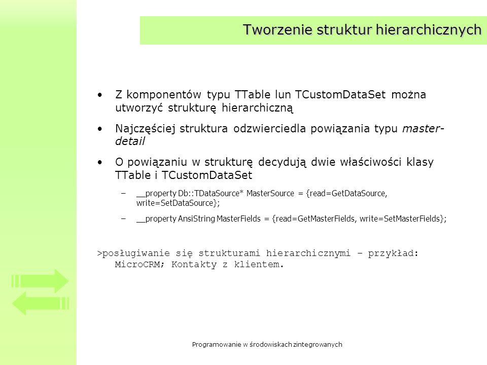 Programowanie w środowiskach zintegrowanych Tworzenie struktur hierarchicznych Z komponentów typu TTable lun TCustomDataSet można utworzyć strukturę h