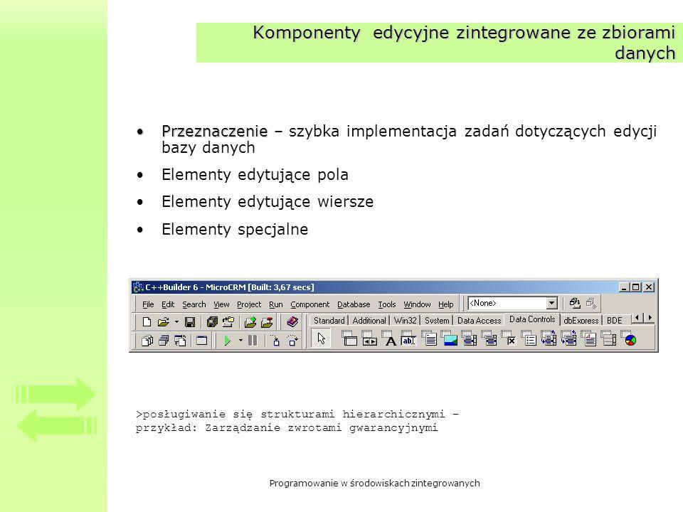 Programowanie w środowiskach zintegrowanych Komponenty edycyjne zintegrowane ze zbiorami danych PrzeznaczeniePrzeznaczenie – szybka implementacja zada