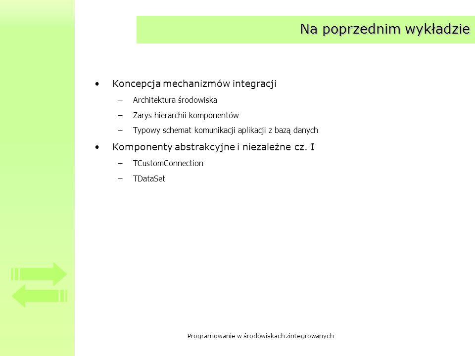 Programowanie w środowiskach zintegrowanych Komponenty abstrakcyjne i niezależne cz.