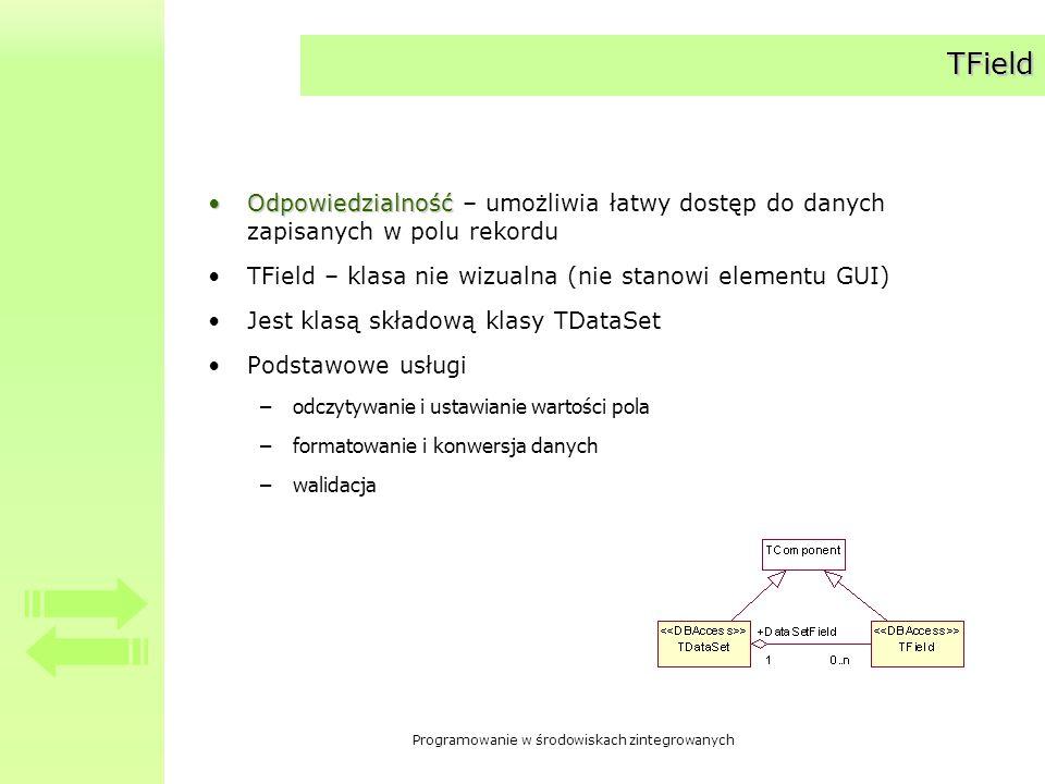 Programowanie w środowiskach zintegrowanych Komponenty bardziej wyspecjalizowane obsługujące konkretne typy pól – pochodne klasy TField