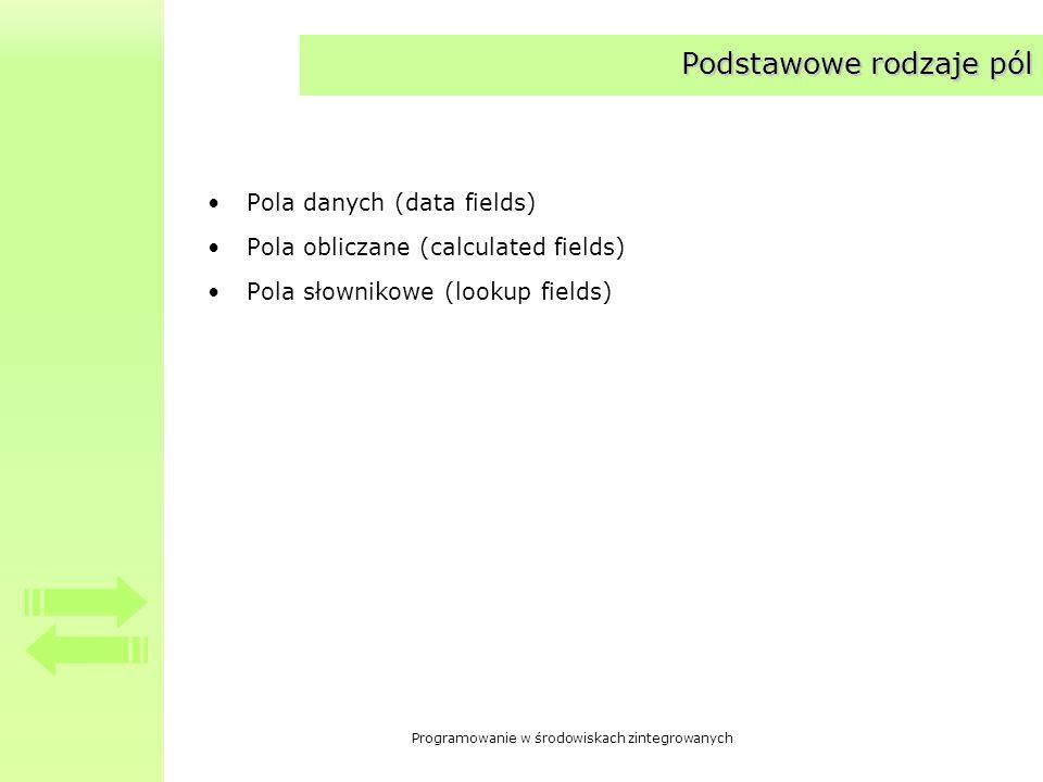 Programowanie w środowiskach zintegrowanych Pola wyliczane Pole wyliczanePole wyliczane – wartość pola nie jest odczytywana z bazy danych, ale obliczana w momencie odczytywania wiersza Wartość pola ustala się w ramach obsługi zdarzenia OnCalcFields –__property TDataSetNotifyEvent OnCalcFields = {read=FOnCalcFields, write=FOnCalcFields}; Zdarzenie pojawia się w trzech przypadkach –Zbiór zostaje otwarty –Zbiór zostaje wprowadzony w stan edycji (State = dsEdit) –Rekord jest pobierany z bazy danych