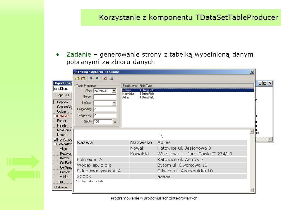 Programowanie w środowiskach zintegrowanych Korzystanie z komponentu TDataSetTableProducer ZadanieZadanie – generowanie strony z tabelką wypełnioną da