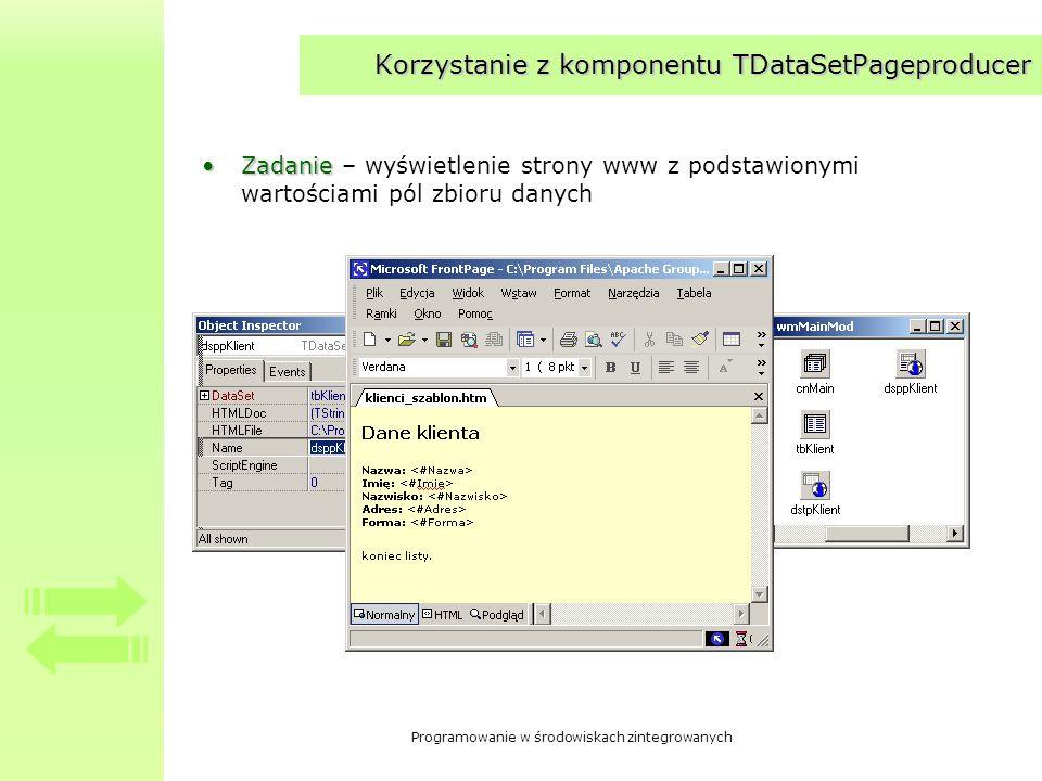 Programowanie w środowiskach zintegrowanych Korzystanie z komponentu TDataSetPageproducer ZadanieZadanie – wyświetlenie strony www z podstawionymi war