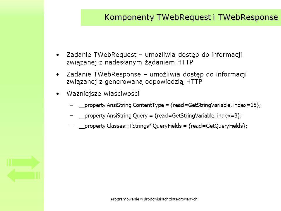 Programowanie w środowiskach zintegrowanych Komponenty TWebRequest i TWebResponse Zadanie TWebRequest – umożliwia dostęp do informacji związanej z nad