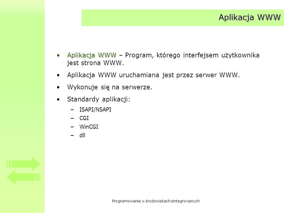 Programowanie w środowiskach zintegrowanych Aplikacja WWW Aplikacja WWWAplikacja WWW – Program, którego interfejsem użytkownika jest strona WWW. Aplik