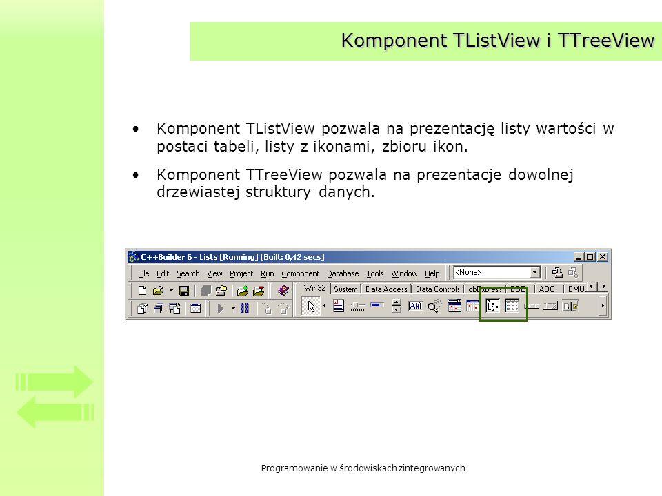 Programowanie w środowiskach zintegrowanych Komponent TListView i TTreeView Komponent TListView pozwala na prezentację listy wartości w postaci tabeli