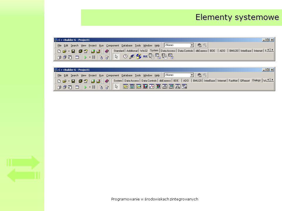Programowanie w środowiskach zintegrowanych Elementy systemowe